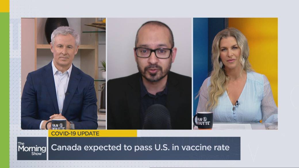 Click to play video: 'Canada inches closer to surpassing the U.S. in vaccinating its population'