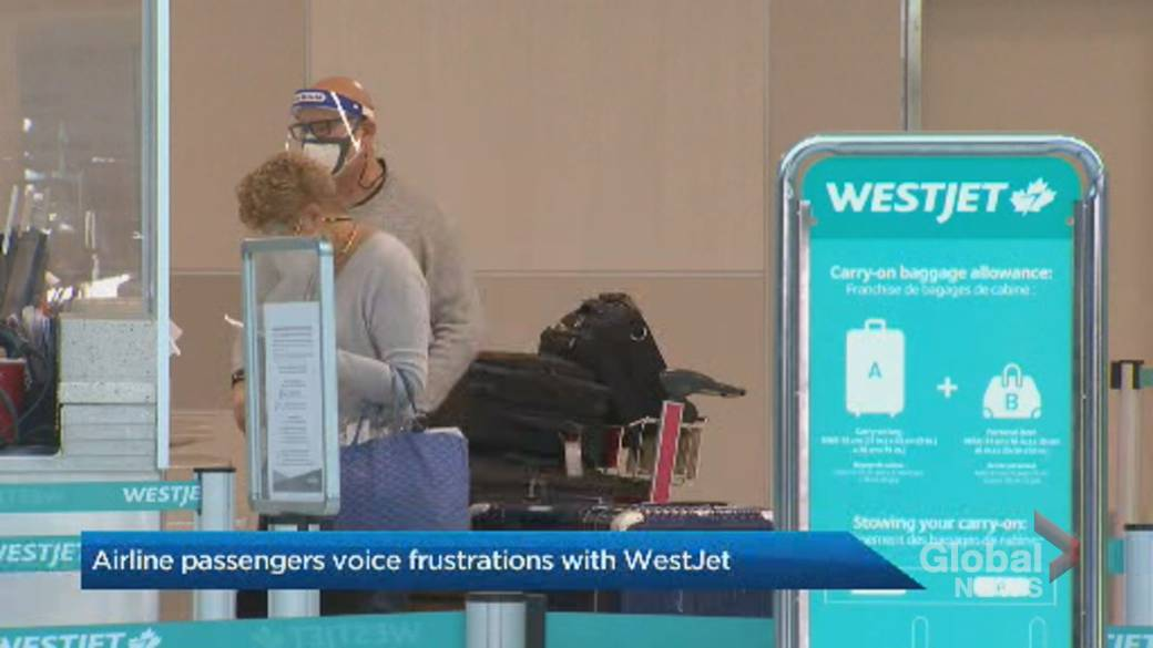 Click to play video 'WestJet passengers frustrated after services cut, refunds refused'