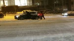 Vehicles struggle to make it up streets, hills in Vancouver during winter storm