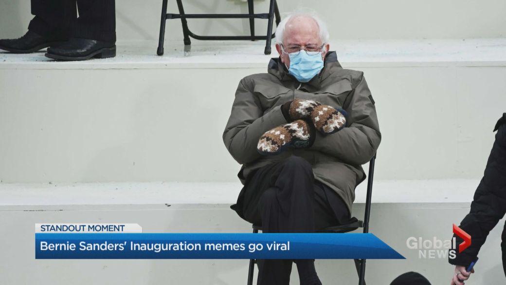Click to play video 'Bernie Sanders' practical U.S. Inauguration Day wardrobe leads to meme frenzy'