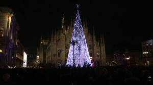 """Eco-friendly"" Christmas tree lights up Milan for the holidays"