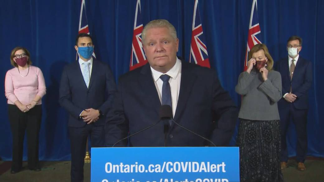 Click to play video 'Ontario premier faces tough questions over Boxing Day shutdown'