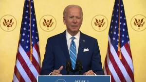 Joe Biden delivers Thanksgiving address, discourages large gatherings amid COVID-19 pandemic (02:18)