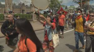 March for Justice: Protesters demand investigation into residential school burials (01:37)