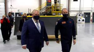 Coronavirus: Ford, Ontario officials tour Ornge facility, observe logistics for vaccine distribution (01:56)