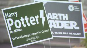 Star Wars-themed lawn signs in GTA raising funds for hospital equipment (01:52)