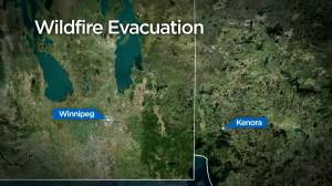 Canadian Forces help with wildfire evacuations near Ontario/Manitoba border (00:27)