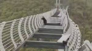 Wind shatters glass bridge in China, leaving tourist stranded over drop (00:23)