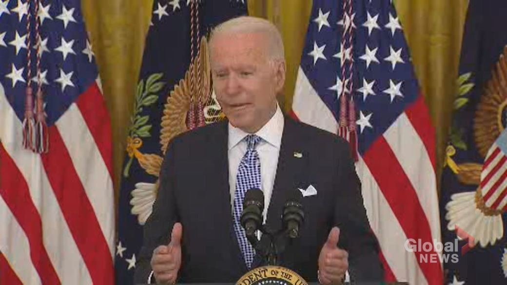 Click to play video: 'Biden says it's 'still a question' whether federal government can mandate vaccines for everyone'