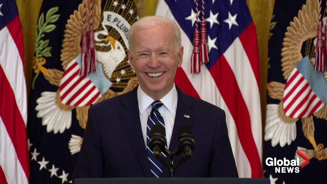 Click to play video: 'Biden jokes he misses Trump, expects to run for re-election in 2024'