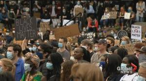 Thousands gather for Black Lives Matter vigil at Olympic Plaza in Calgary