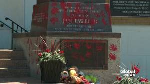 Pope John Paul II statue vandalized with red paint at Edmonton church (01:46)