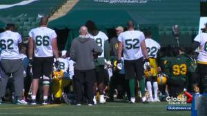Edmonton Eskimos coach speaks with passion to players
