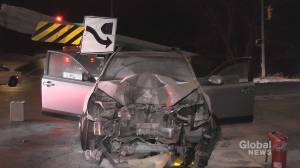 Car slams into traffic light pole in Peterborough's west end