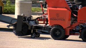 Autonomous snow-removal equipment on display in Calgary