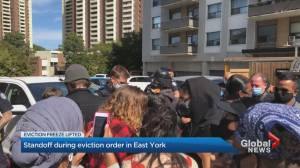 Neighbours rally to prevent eviction of Toronto tenant (02:23)