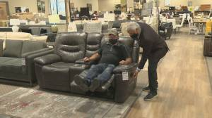 Consumers being warned that they will likely soon be paying a lot more for upholstered furniture (02:27)