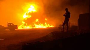 Fiery aftermath of pipeline explosion in Nigeria
