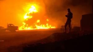 Fiery aftermath of pipeline explosion in Nigeria