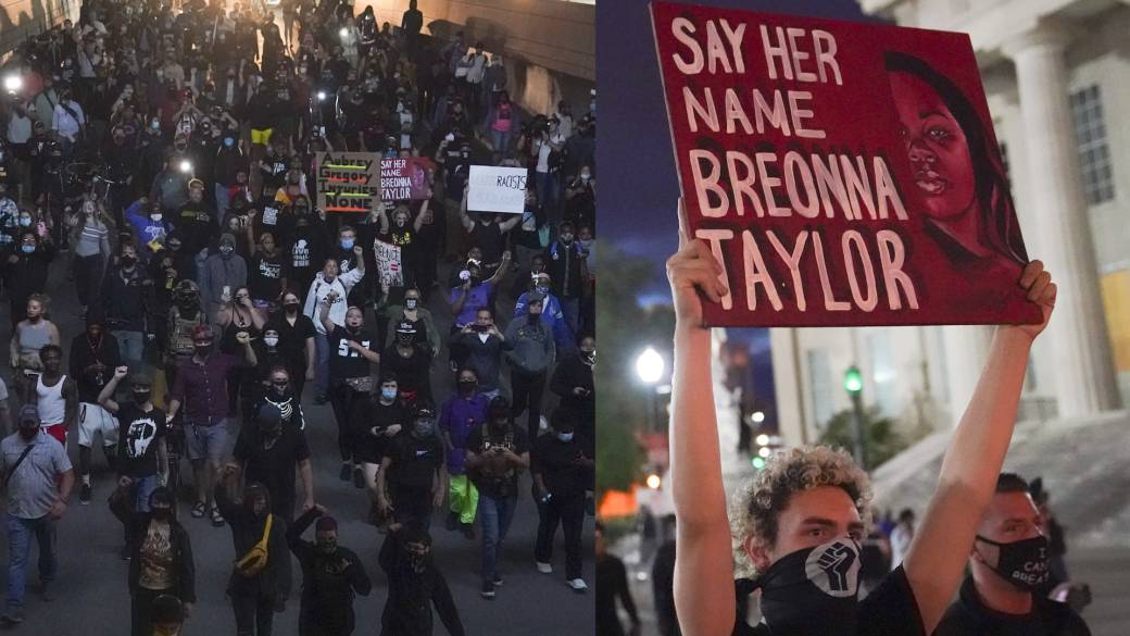 Click to play video 'Breonna Taylor protests: 2nd night of rallies following grand jury decision'