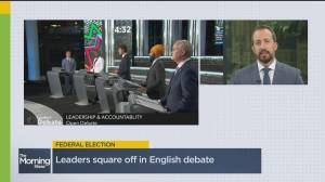 Who landed a knockout punch during the leaders debate (04:58)