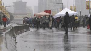 Climate activists create bridge blockade in downtown Vancouver