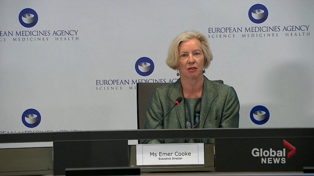 """Click to play video: 'EU regulator declares AstraZeneca COVID-19 vaccine """"safe and effective""""'"""