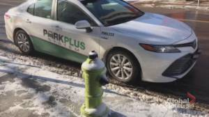 Video shows Calgary Parking Authority attendant parked in front of fire hydrant