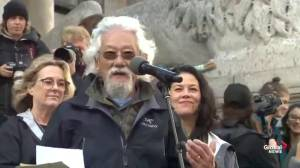 Environmental activist David Suzuki joins Greta Thunberg at climate rally in Vancouver