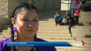 'Walk a Mile in a Ribbon Skirt' event in Edmonton aims to educate about stigma against Indigenous women