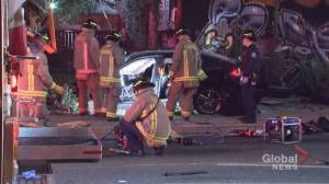 Porsche destroyed in overnight crash in Toronto driven by 13-year-old (02:20)