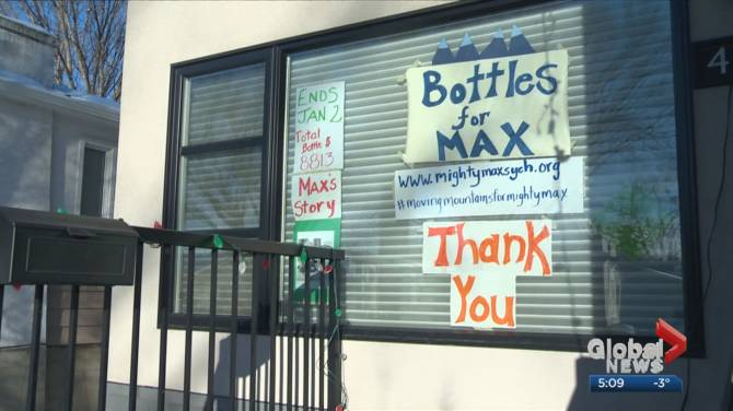 Click to play video: Bottle drive raising funds for 'Mighty Max,' Alberta toddler who needs 2.8M for life-saving drug