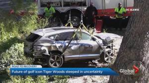 Car crash leaves golf icon Tiger Woods with significant leg injuries (01:53)