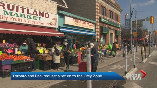 Click to play video: Coronavirus: Toronto and Peel Region request a return to the grey zone
