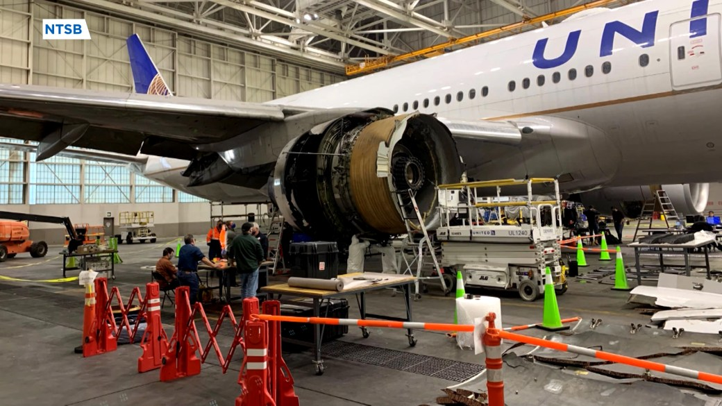 Click to play video 'United Airlines plane engine failure showed signs of metal fatigue, NTSB says'