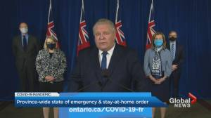 Coronavirus: Ontario government declares state of emergency, stay-at-home order (02:32)