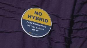 High school teachers' union protests hybrid learning model (01:52)