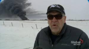 Blaine Weber reacts to Guernsey train derailment