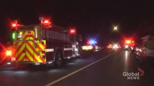 Crews battle blaze on Cumberland Avenue in Peterborough (00:33)