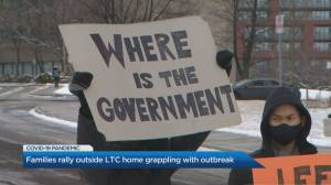 Families rally outside Toronto LTC home grappling with COVID-19 outbreak (02:02)