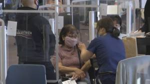 Thousands turn out to get the jab at 36-hour COVID-19 'vax-a-thon' in Surrey (01:32)