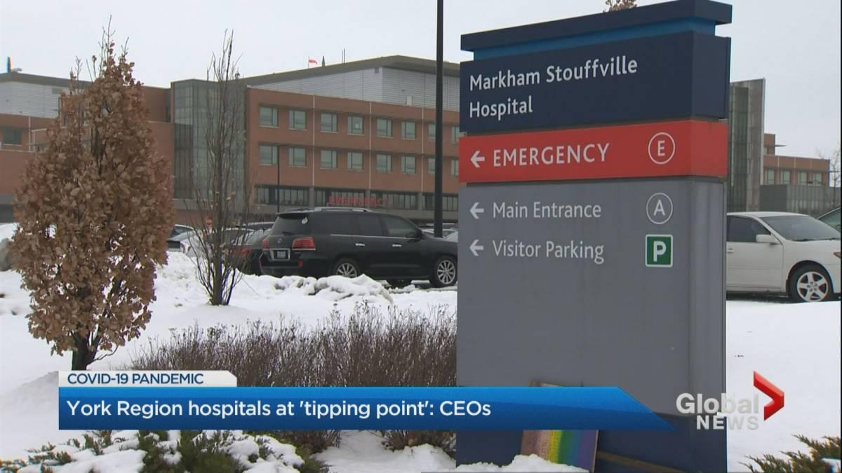 Click to play video 'Coronavirus: York Region hospitals reaching 'tipping point,' CEOs warn'