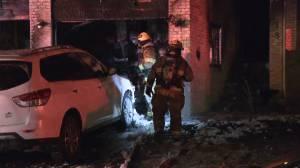 Calgary firefighters battle Wednesday blaze in Shawnee Slopes (02:15)