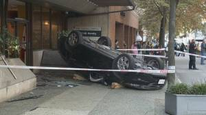 Dramatic car crash in downtown Vancouver sends multiple people to hospital