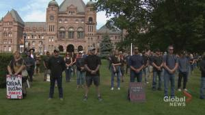 First responders protest mandatory vaccines outside Queen's Park (02:17)