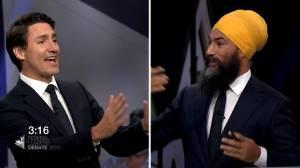 Leaders' Debate: Trudeau accidentally addresses Singh as 'Mr. Scheer'