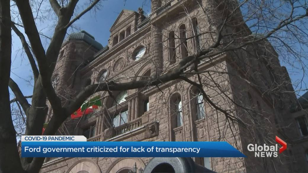 Click to play video 'Coronavirus: Ontario government criticized for lack of transparency'