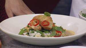 JOEY's Oven Roasted Cod with Rice, Snap Peas and Cauliflower
