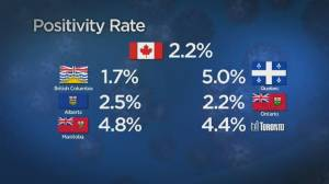 COVID-19 positivity rate varies across Canada (02:09)