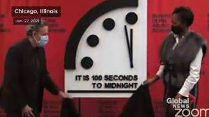 Doomsday clock remains at 100 seconds to midnight, scientists warn (02:17)